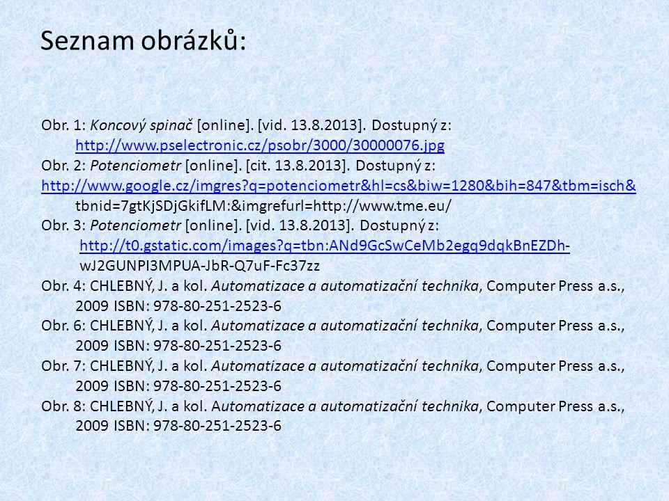 Seznam obrázků: Obr. 1: Koncový spinač [online]. [vid. 13.8.2013]. Dostupný z: http://www.pselectronic.cz/psobr/3000/30000076.jpg.